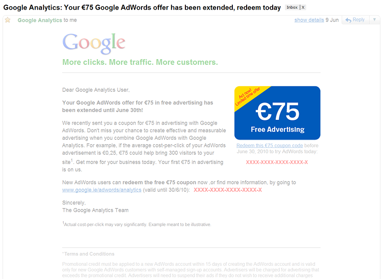 AdWords Coupon Codes – Common Problems and Questions